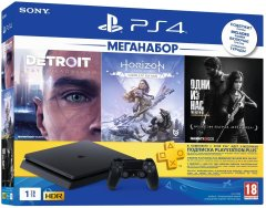 Ігрова консоль Sony PlayStation 4 Slim 1Tb Black + 3-місячна підписка PSPlus + 3 гри: Detroit, Horizon Zero Dawn, The Last Of Us 9926009, Чорний