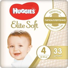 Підгузки Huggies Elite Soft Jumbo 4 8-14 кг 33 шт 9400778, 33