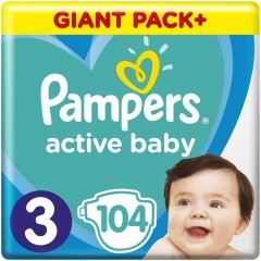 Підгузки Pampers Active Baby-Dry, розмір 3, 6-10 кг, 104 шт 81680833